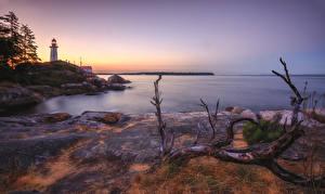 Фото Канада Побережье Рассветы и закаты Маяки Ванкувер Point Atkinson Lighthouse Природа