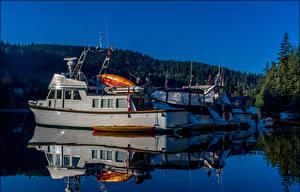 Картинка Канада Пирсы Катера Вечер Отражении Coombe British Columbia
