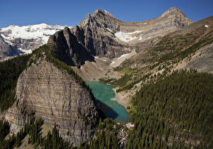 Фотография Канада Парки Горы Озеро Леса Банф Lake Agnes