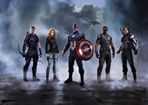 Картинка Первый мститель: Противостояние Капитан Америка герой Железный человек герой Скарлетт Йоханссон Щит Кино Знаменитости