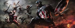 Обои Первый мститель: Противостояние Железный человек герой Капитан Америка герой Герои комиксов Сражение Steve Rogers Кино Знаменитости