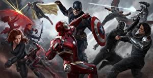 Обои Первый мститель: Противостояние Железный человек герой Герои комиксов Капитан Америка герой Драка Steve Rogers Фильмы Знаменитости Девушки