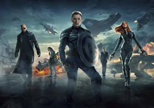 Картинка Капитан Америка герой Супергерои Chris Evans Первый мститель: Другая война С щитом Steve Rogers Знаменитости Девушки