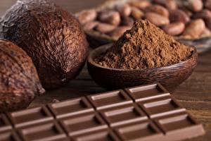 Картинки Шоколад Вблизи Орехи Шоколадная плитка Пища