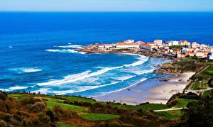 Фотографии Побережье Море Испания Galicia Природа Города