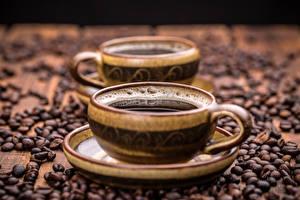 Картинка Кофе Чашка Зерна Блюдце Пища