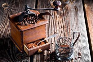 Картинки Кофе Доски Стакан Зерна Продукты питания