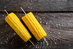 Картинки Кукуруза Доски Вдвоем Соль Еда