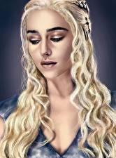 Обои Дейенерис Таргариен Игра престолов (телесериал) Рисованные Emilia Clarke Блондинка Волосы Фильмы Знаменитости Девушки