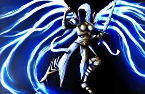 Картинка Diablo Ангелы Крылья Мечи Капюшон Auriel Игры Фэнтези