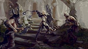 Фотографии Diablo 3 Воители Reaper of Souls Игры Девушки