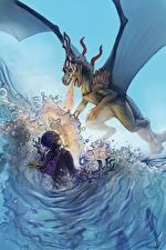 Фотография Драконы Пламя Вода Колдун Сражения Крылья