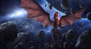 Фотография Драконы Камень Крылья Chris Fox, Planet Strider Фэнтези Космос