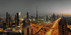 Фотография Объединённые Арабские Эмираты Дубай Здания Небоскребы Ночь