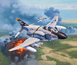 Фотография Самолеты Истребители Рисованные Бомбардировщик Американские Set F-4J Phantom II Авиация