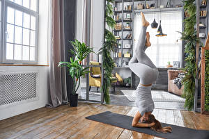 Фото Фитнес Шатенки Физическое упражнение Ног Йога девушка Спорт