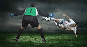 Обои Футбол Мужчины Вратарь в футболе 2 Мяч Униформа