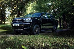Картинки Ford Черные Металлик 2017 Ranger Limited Black Edition Double Cab Worldwide Автомобили
