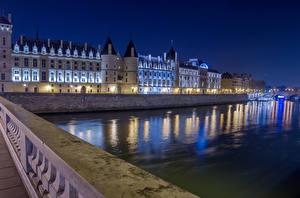 Фотография Франция Вечер Здания Речка Париж Дворец Ограда Города