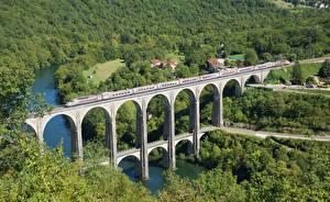 Обои Франция Леса Речка Мосты Поезда Bolozon Gare Природа