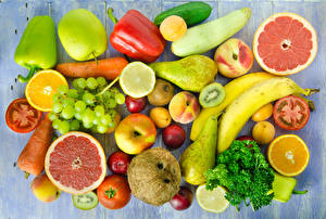 Картинки Фрукты Овощи Перец Яблоки Груши Бананы Виноград Еда