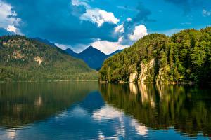 Картинки Германия Горы Речка Небо Леса Бавария Alterschrofen Природа