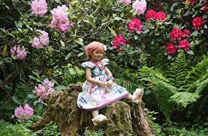 Фото Германия Парки Пень Девочки Кукла Платье Мох Grugapark Essen Природа