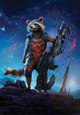 Обои Стражи Галактики Еноты Пулемет Rocket Фильмы
