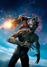 Обои Стражи Галактики Еноты Пулеметы Стрельба Кричат Rocket, Groot Фильмы