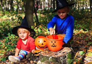 Картинки Хеллоуин Тыква 2 Мальчики Шляпа Ведро Дети