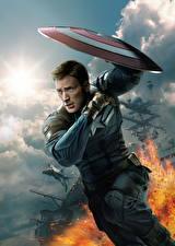 Фотография Герои комиксов Капитан Америка герой Крис Эванс Первый мститель: Другая война Мужчины Щит Steve Rogers Кино Знаменитости