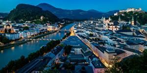 Картинка Здания Вечер Зальцбург Австрия