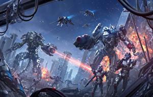 Обои Иллюстрации к книгам Воители Робот Выстрел Chris Fox, Planet Strider Фэнтези