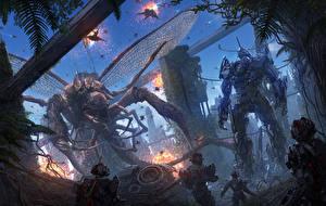 Фото Иллюстрации к книгам Воины Чудовище Робот Chris Fox, Planet Strider Фантастика