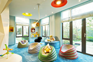 Картинки Интерьер Детская комната Игрушки Мишки Дизайн Лампа
