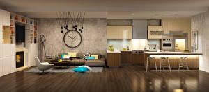 Фото Интерьер Часы Дизайн Диван Кресло Кухня 3D Графика