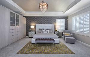 Картинка Интерьер Дизайн Спальня Кровать Люстра Ковер 3D Графика