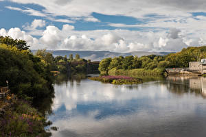 Картинки Ирландия Речка Леса Небо Облака Killorglin Kerry Природа