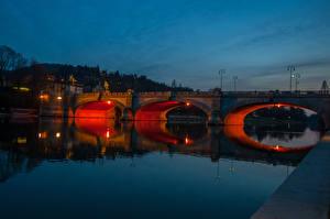 Фотография Италия Реки Мосты Ночь Turin Города