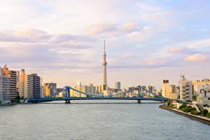 Фотография Япония Токио Здания Реки Мосты Небо