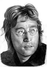 Фотографии John Lennon Рисованные Битлз Мужчины Черно белое Головы Очках Белом фоне Знаменитости
