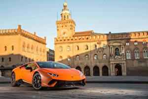 Обои Ламборгини Оранжевый 2017 Huracan Performante Автомобили