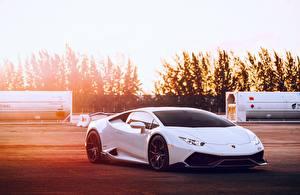 Обои Lamborghini Белый Huracan Машины