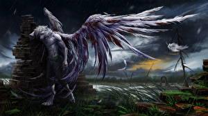 Картинка Волшебные животные Ангелы Дождь Крылья Фэнтези