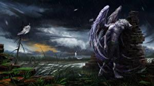 Картинка Волшебные животные Дождь Ангелы Крылья Фэнтези