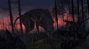 Картинки Волшебные животные Волки Вороны