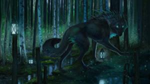 Фото Волшебные животные Волки Ночные Фантастика