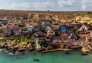 Обои Мальта Здания Берег Пирсы Popeye village Города