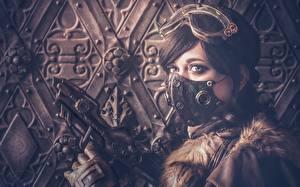 Фотография Маски Пистолет Паропанк Очки молодые женщины Фэнтези