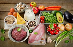 Фотографии Мясные продукты Молоко Овощи Сыры Мюсли Грибы Помидоры Яблоки Чеснок Кувшин Пища